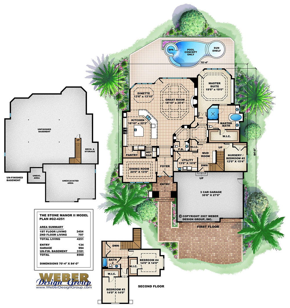 stone manor ii house plan open floor plan 4bed 2 5bath basement floor plan