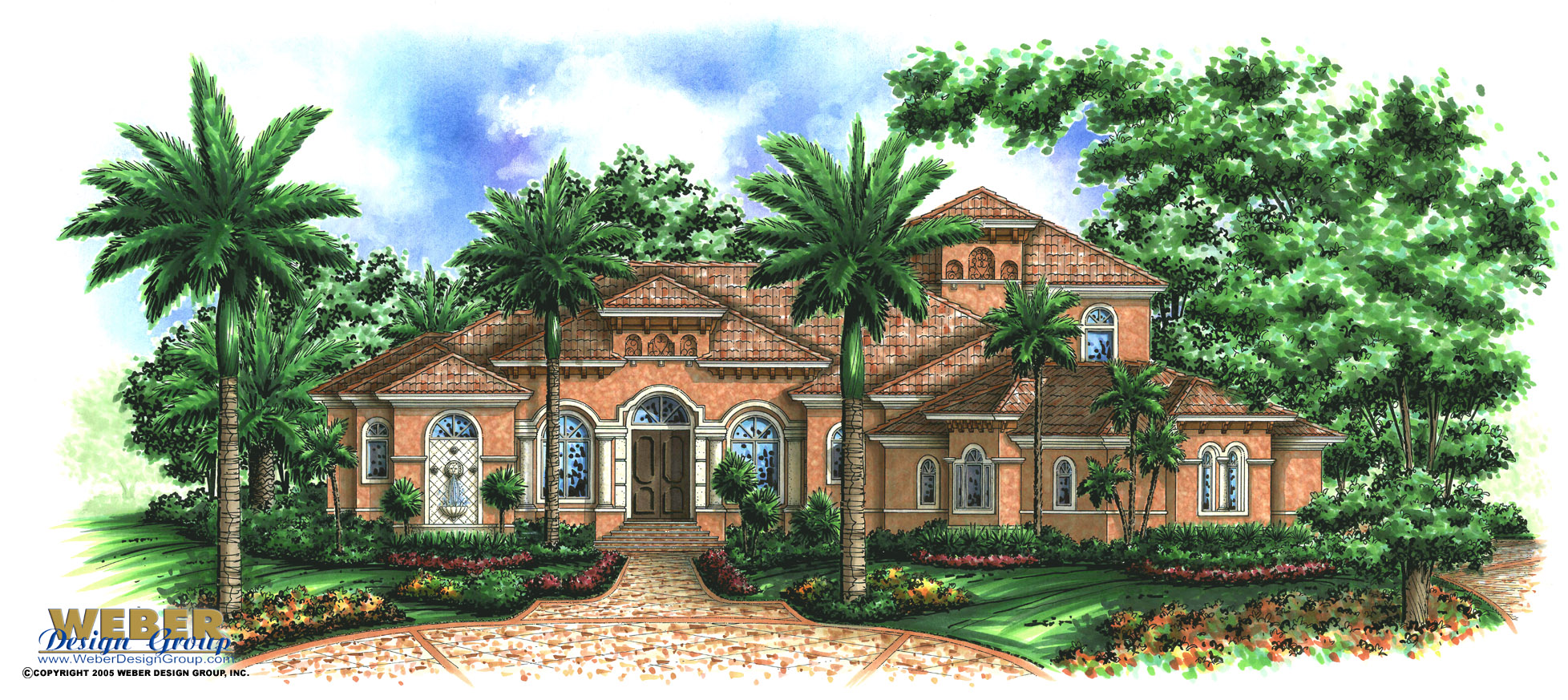 Tuscan house plan coastal mediterranean style golf course for Weber design group