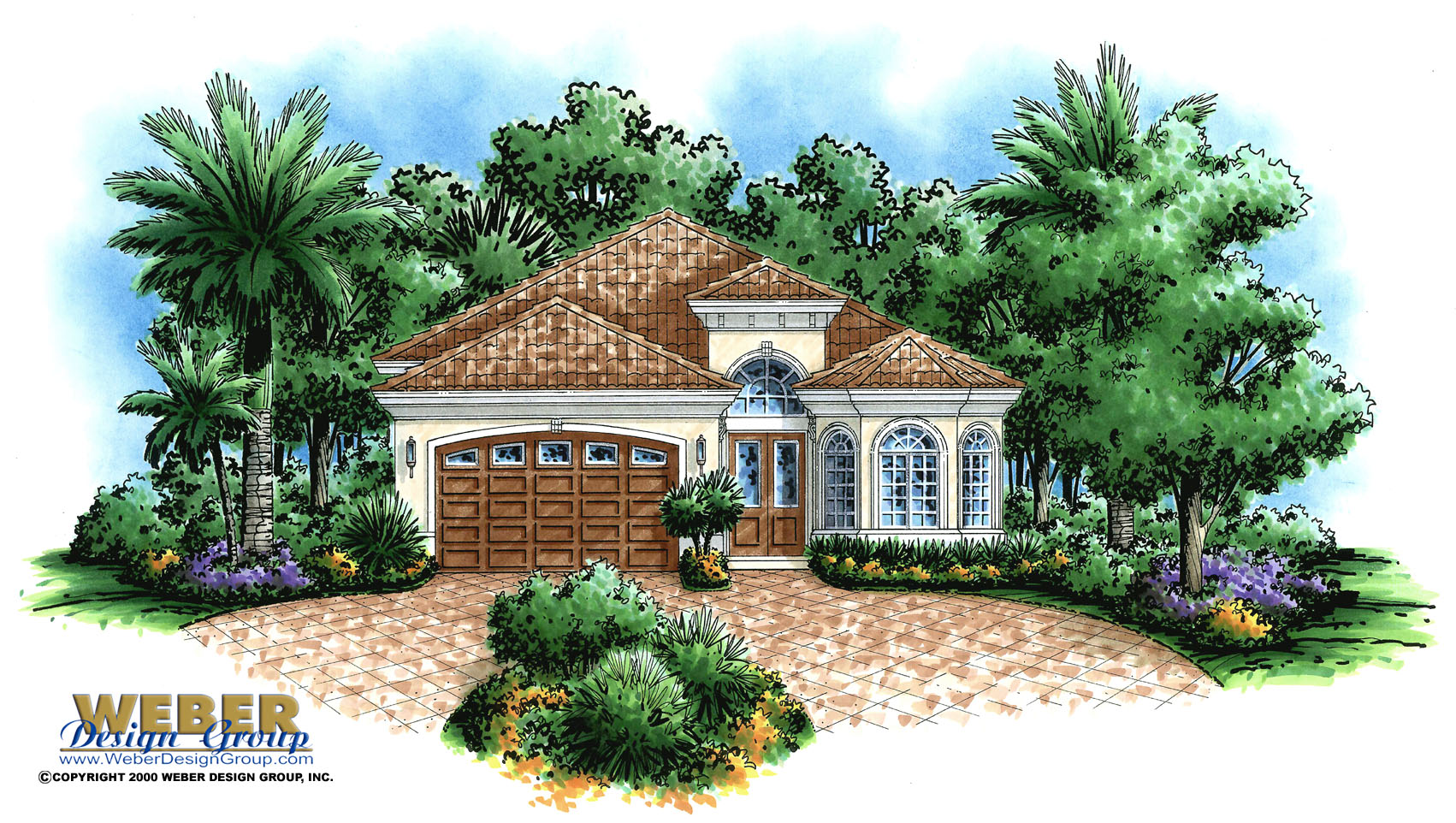 Tuscan House Plan: Mediterranean Style Home Floor Plan for Narrow Lot