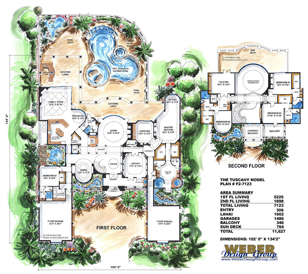 Mediterranean house plan 2 story waterfront mansion floor for Weber designs