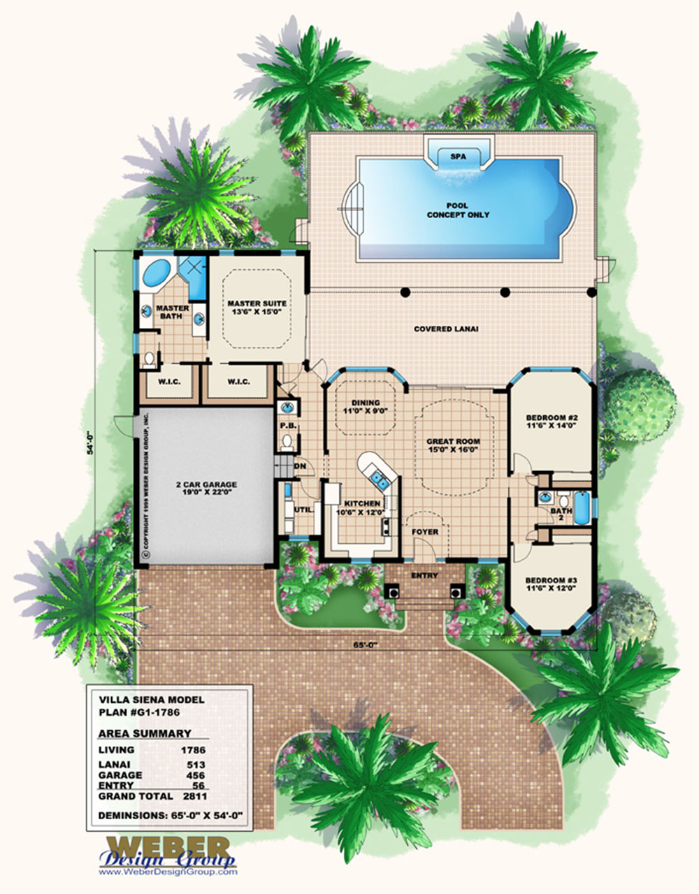 Mediterranean House Plan 1 Story Small Home Floor Plan