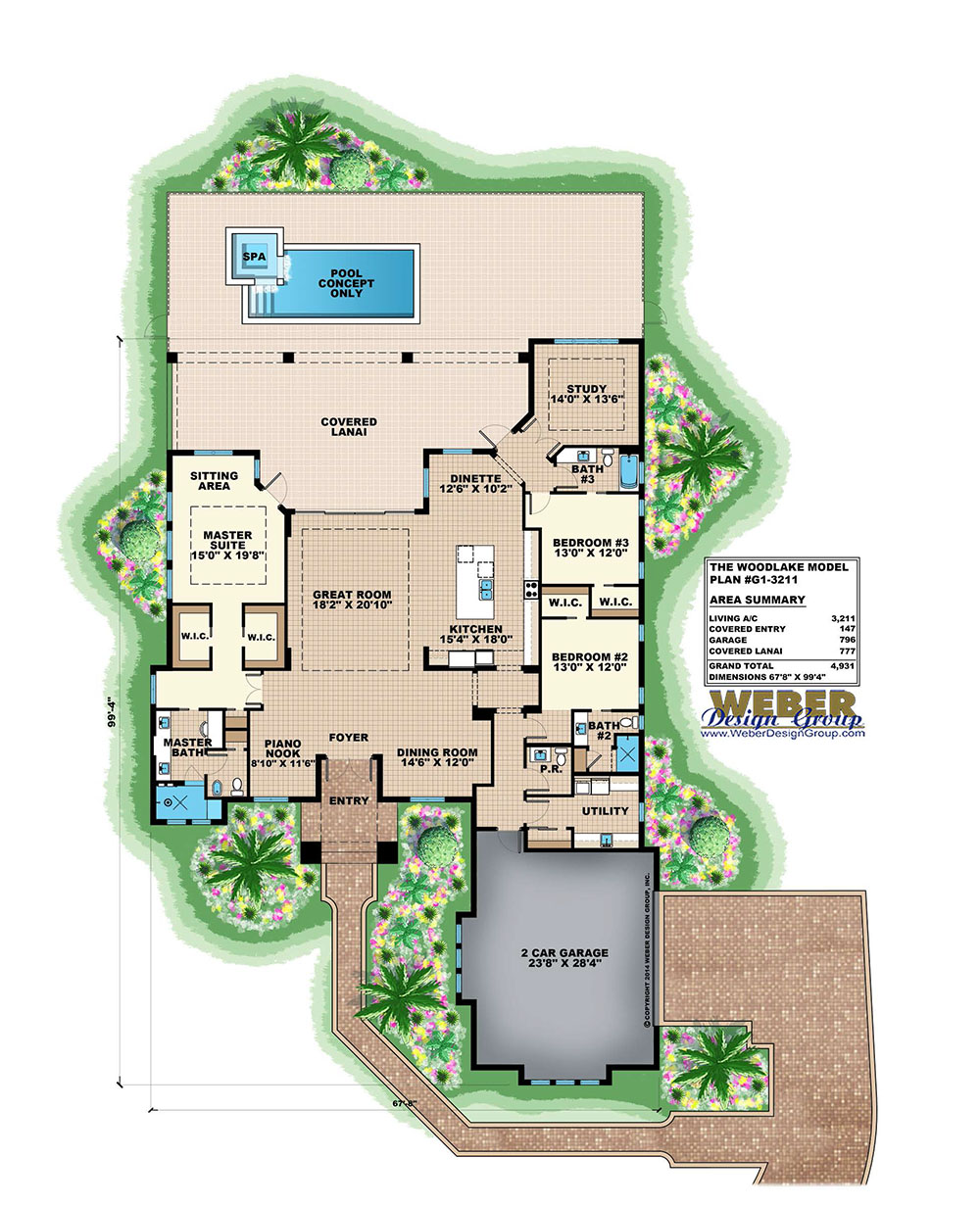Villa veletta house plan weber design group for Weber design