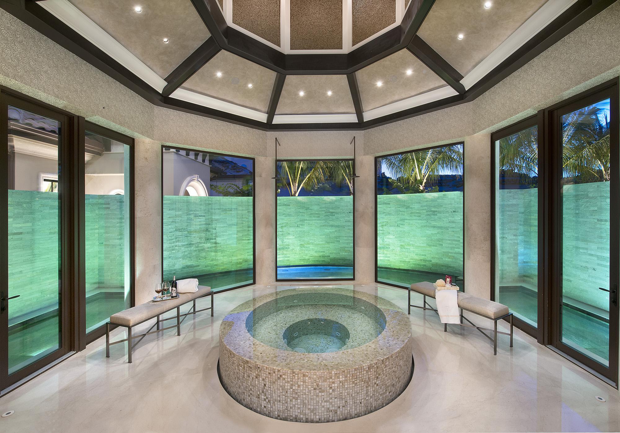 architect designs private spa area with hot tub.