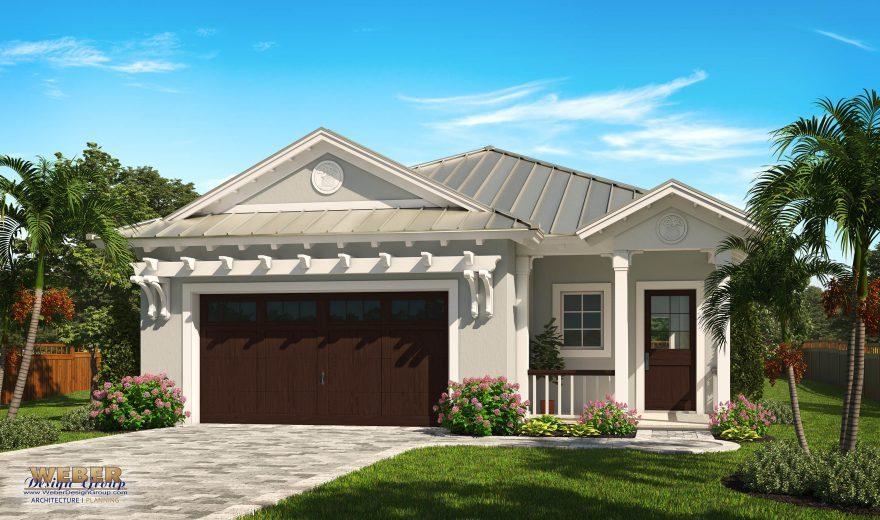 Ocean Ridge Front Elevation, Small House Plan