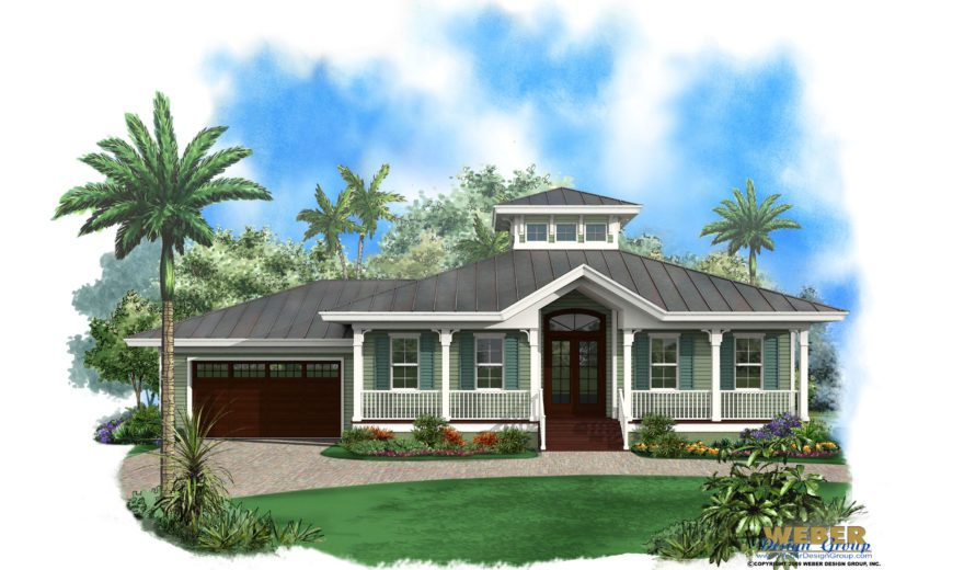 Ambergris Cay Front Elevation, Small House Plan, Olde Florida Style