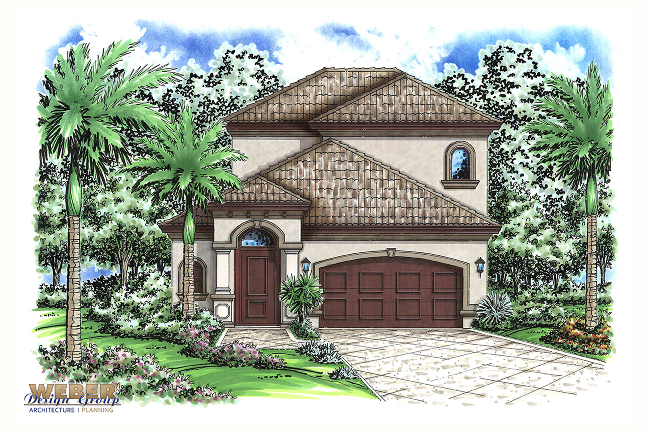 Mediterranean house plan small narrow lot 2 story home for Two story mediterranean house plans
