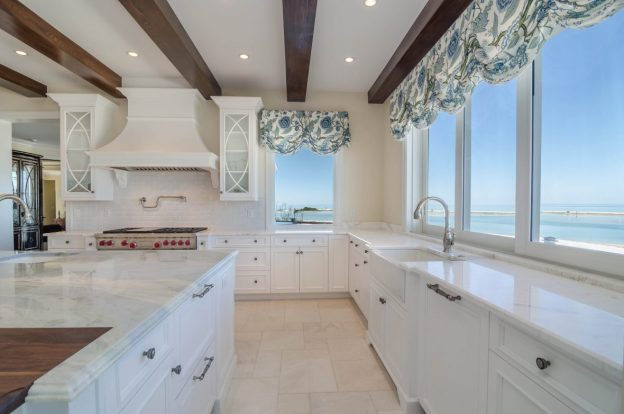 modern island kitchen beach views